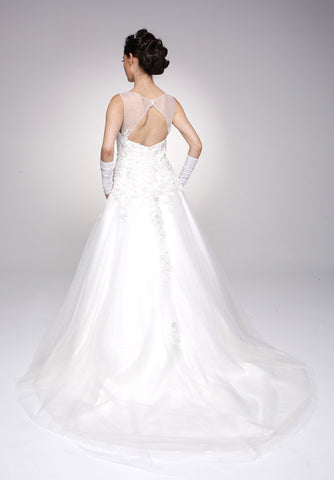 White Illusion Neckline Sleeveless Wedding Gown Cut Out Back
