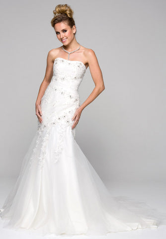 Strapless Trumpet-Style Embellished Wedding Gown Lace Up Back Ivory