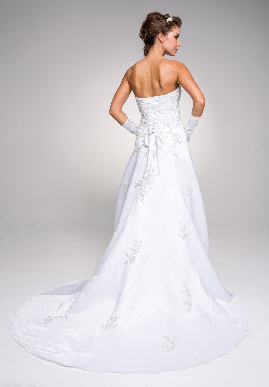 Sweetheart Neckline Embroidered Wedding Gown with Drapes White ...