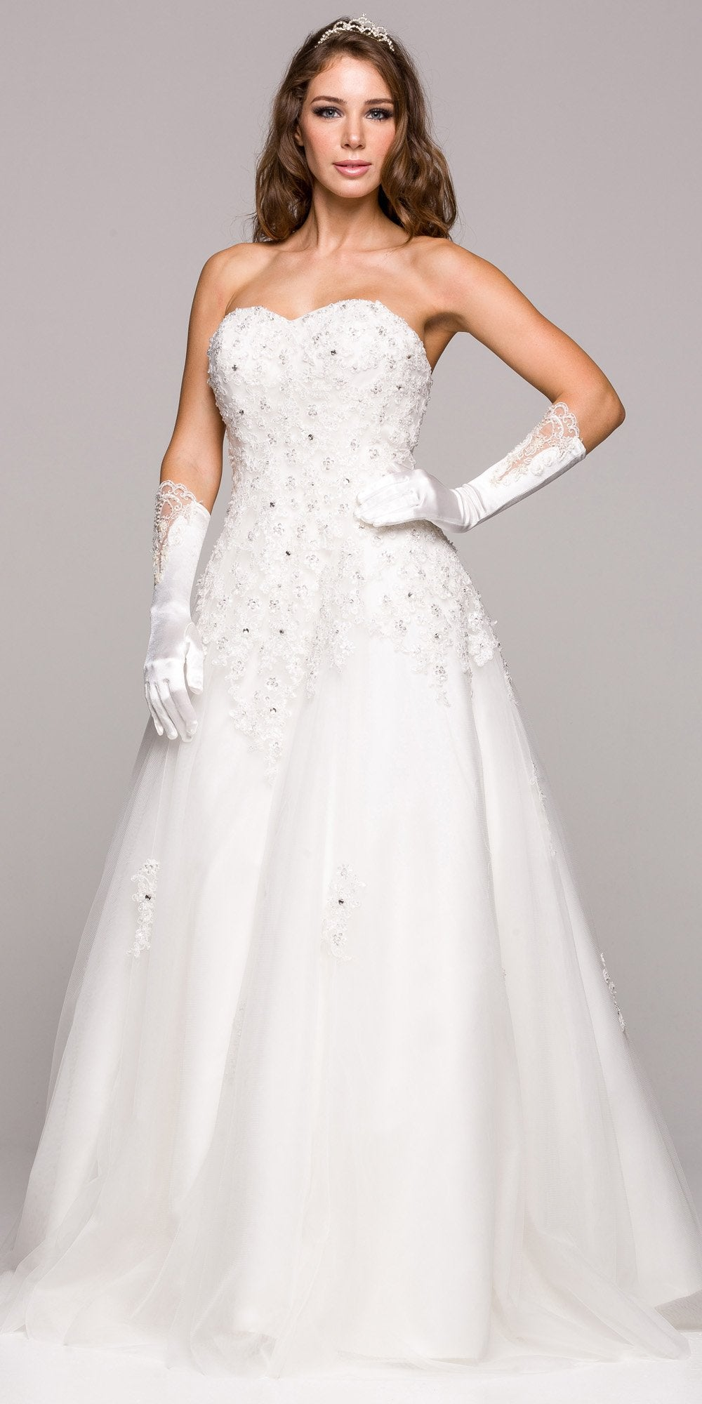 Ivory Embroidered Ball Gown Wedding Dress Sweetheart Neck Strapless ...