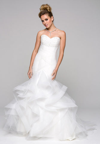Ivory Ruffled Mermaid Wedding Gown Strapless with Court Train