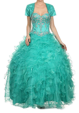 Embellished Bodice Ruffled Teal Green Tiered Princess Gown