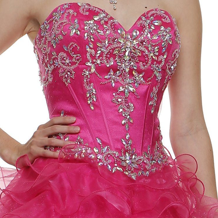 Embellished Bodice Ruffled Fuchsia Tiered Princess Gown