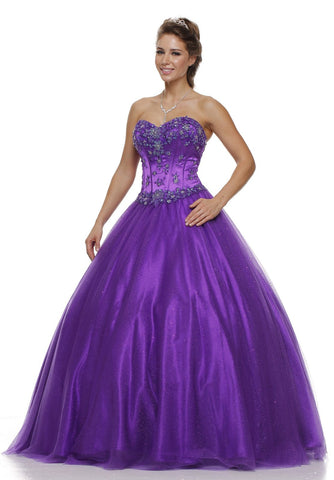 Long Strapless Corset Bodice Purple Tulle Ball Gown