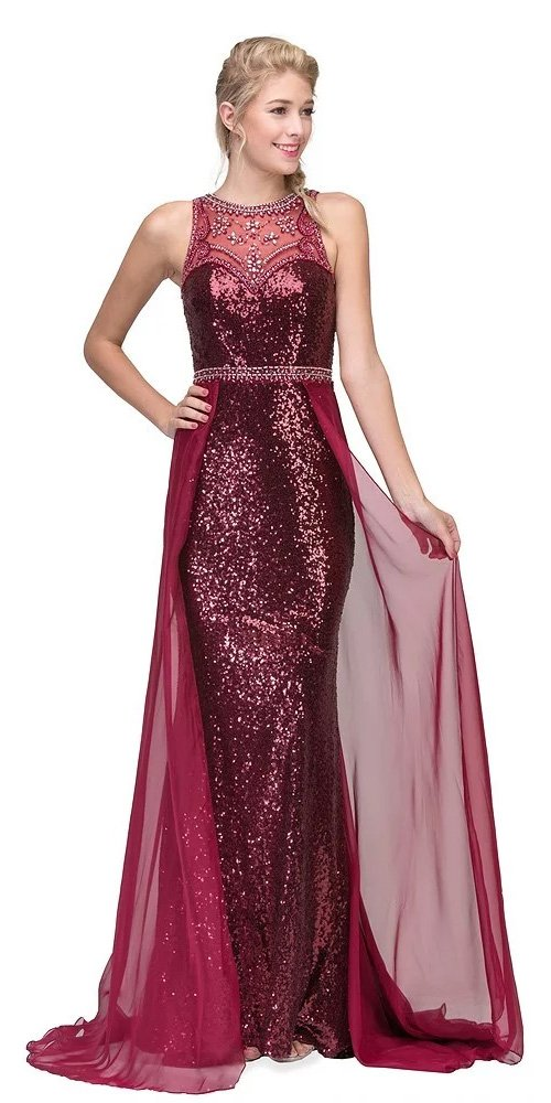Eureka Fashion 3335 Illusion Sequins Prom Gown Sleeveless with Sheer Train Burgundy