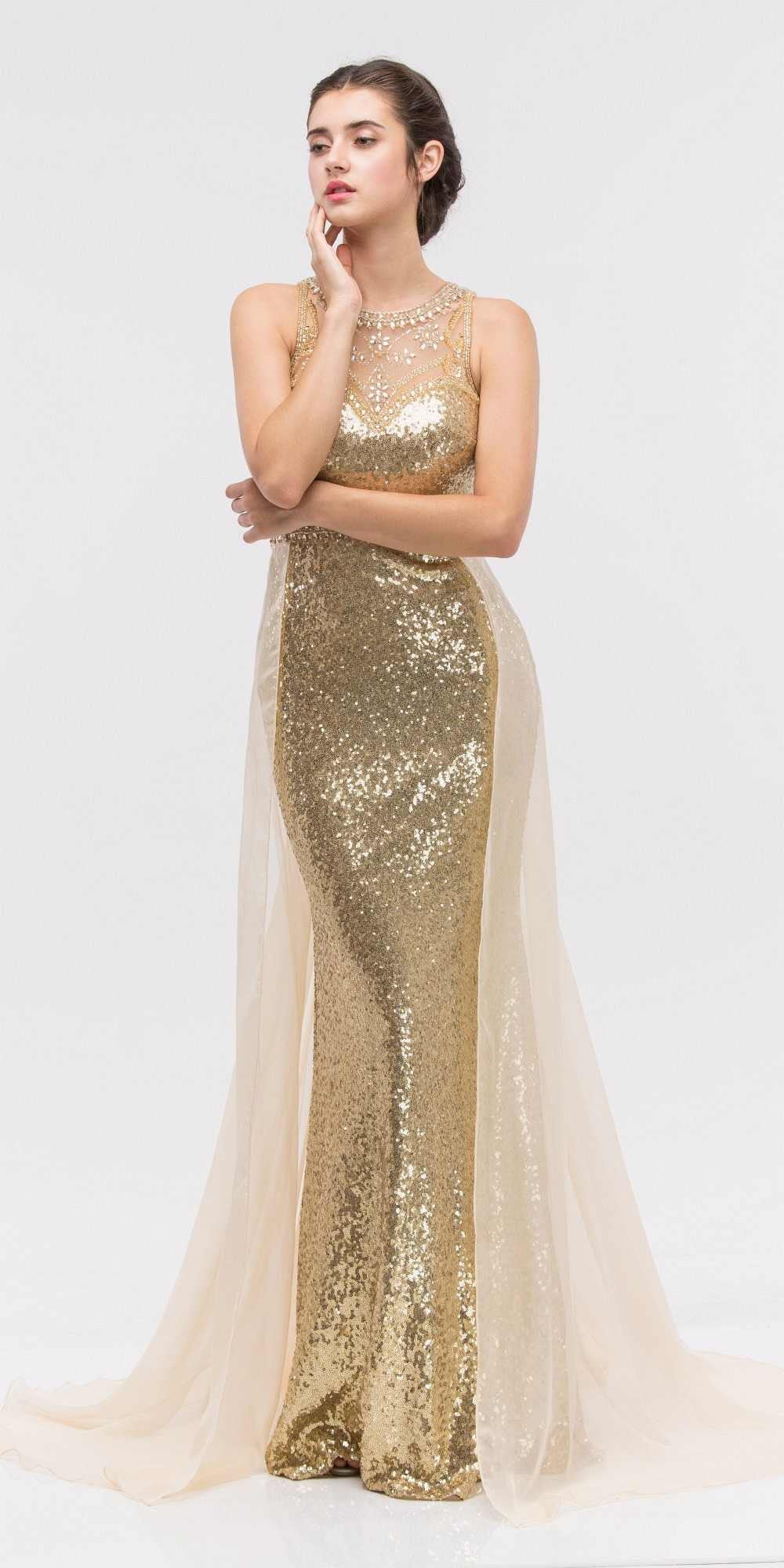 Illusion Sequins Prom Gown Sleeveless with Sheer Train Burgundy ...