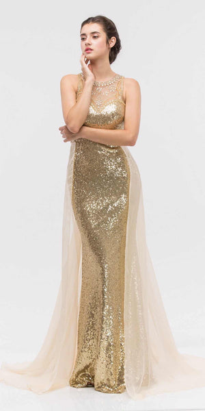 Eureka Fashion 3335 Illusion Sequins Prom Gown Sleeveless with Sheer Train Gold