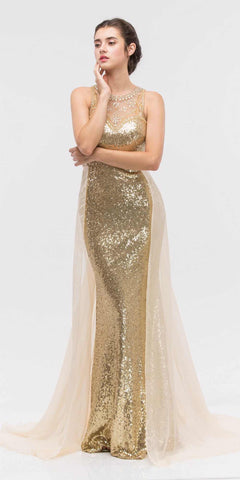 Illusion Sequins Prom Gown Sleeveless with Sheer Train Gold