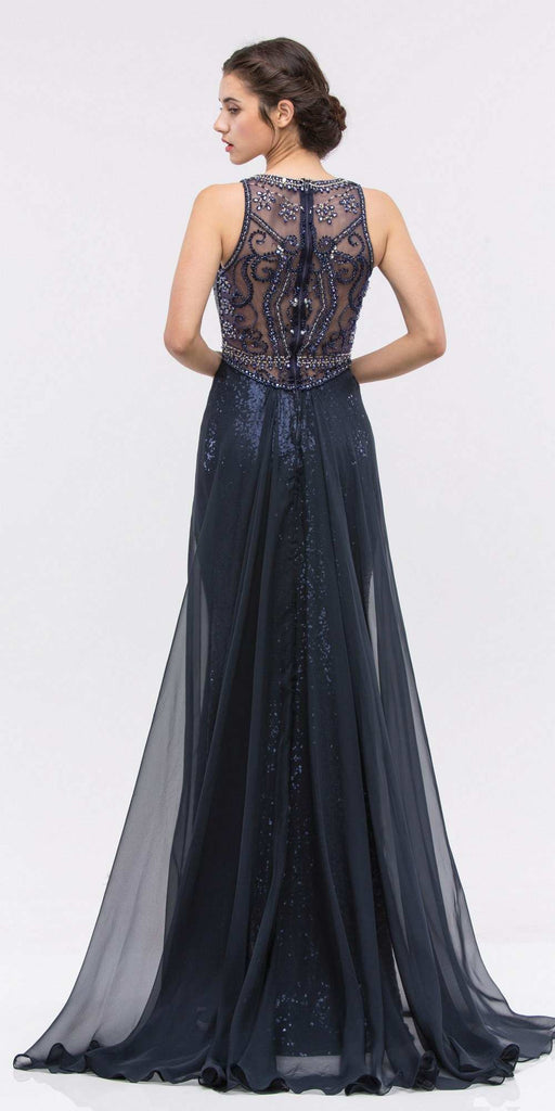Eureka Fashion 3335 Illusion Sequins Prom Gown Sleeveless with Sheer Train Navy Blue