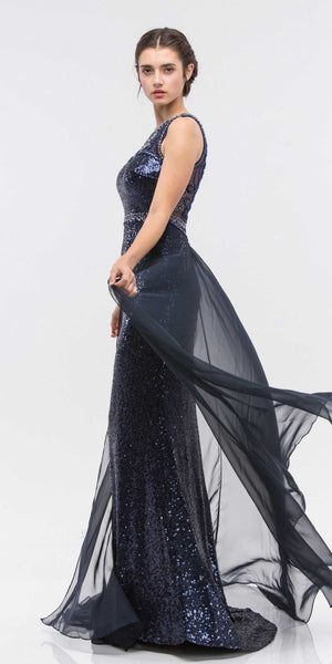 Illusion Sequins Prom Gown Sleeveless with Sheer Train Navy Blue