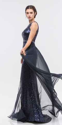 Poly USA 7364 Sheath Column Prom Dress Navy Blue Long Lace Appliques