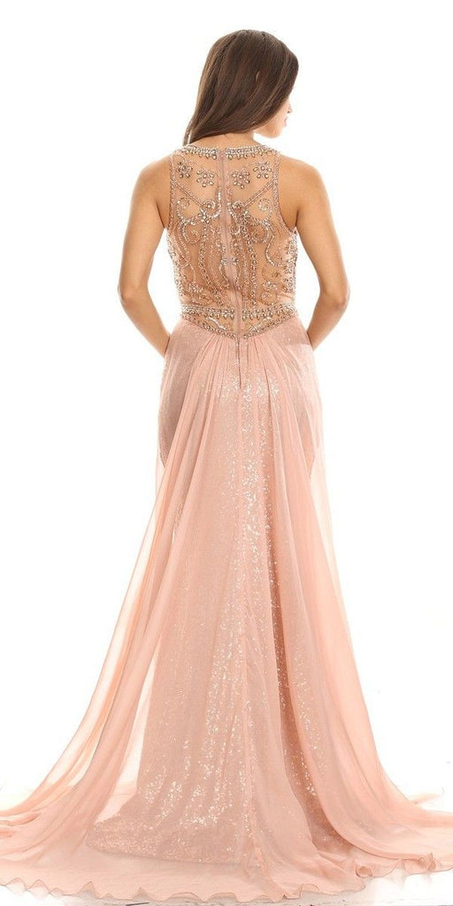 Eureka Fashion 3335 Illusion Sequins Prom Gown Sleeveless with Sheer Train Rosegold