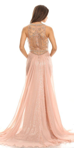 Illusion Sequins Prom Gown Sleeveless with Sheer Train Rosegold