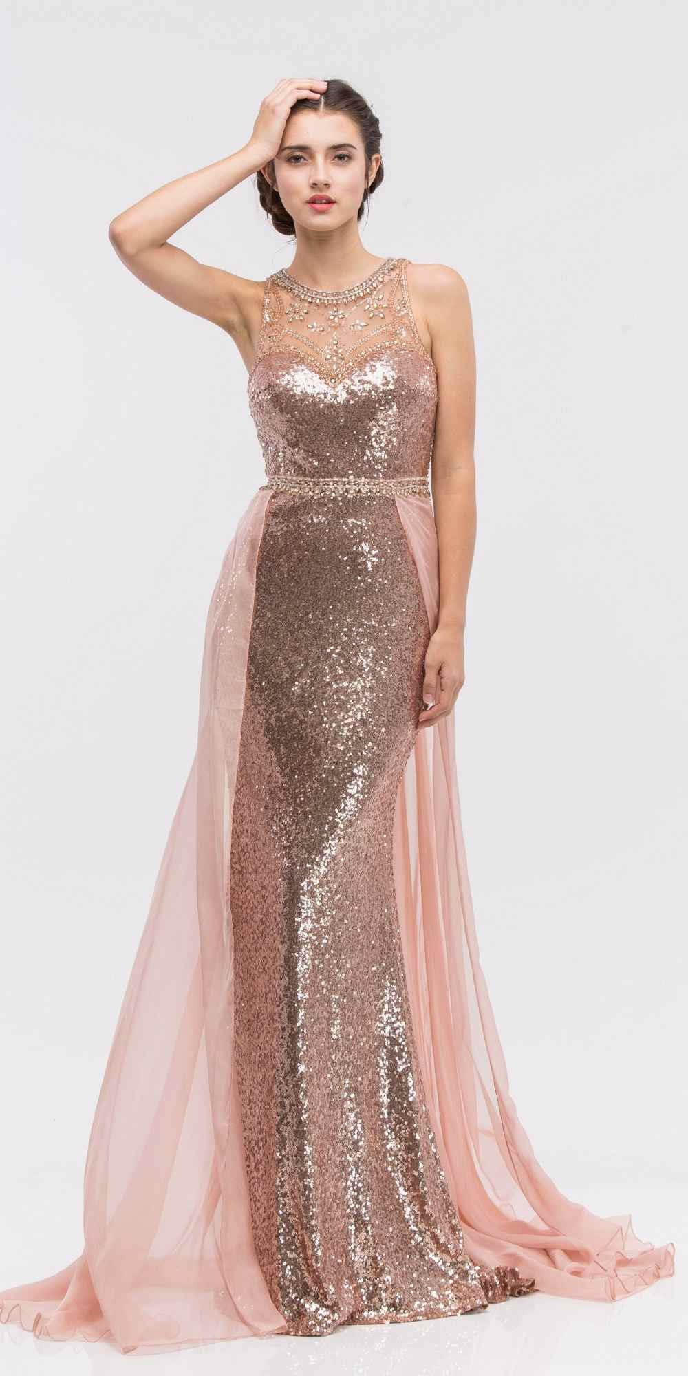 Illusion Sequins Prom Gown Sleeveless with Sheer Train Rose/Gold ...