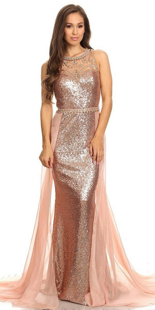 Eureka Fashion 3335 Illusion Sequins Prom Gown Sleeveless with Sheer Train Rose/Gold