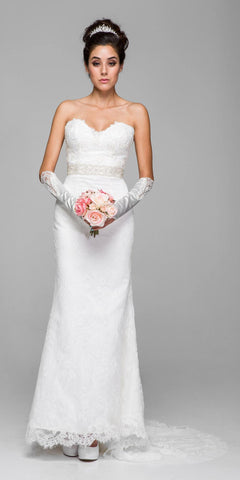 White Lace Wedding Gown Sweetheart Neckline Strapless with Court Train
