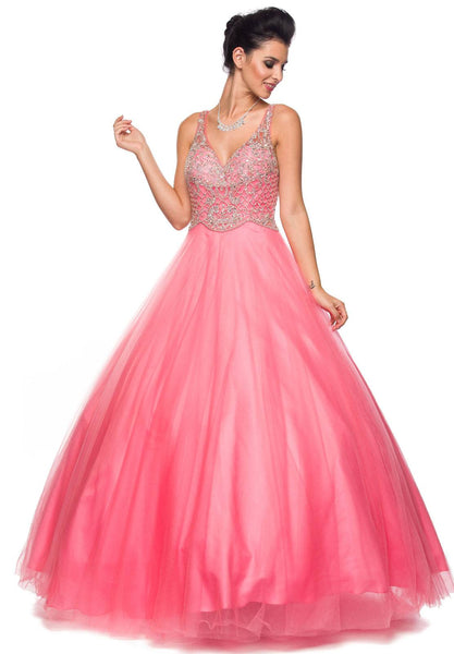 Coral V-Neck Quinceanera Dress Embellished Bodice Open Back