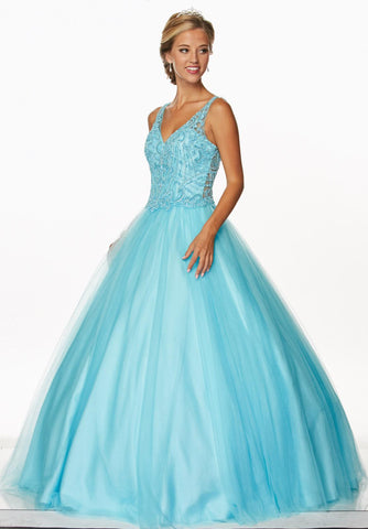 Beaded Bodice V-Neckline Sleeveless Quinceanera Dress Illusion Back Turquoise