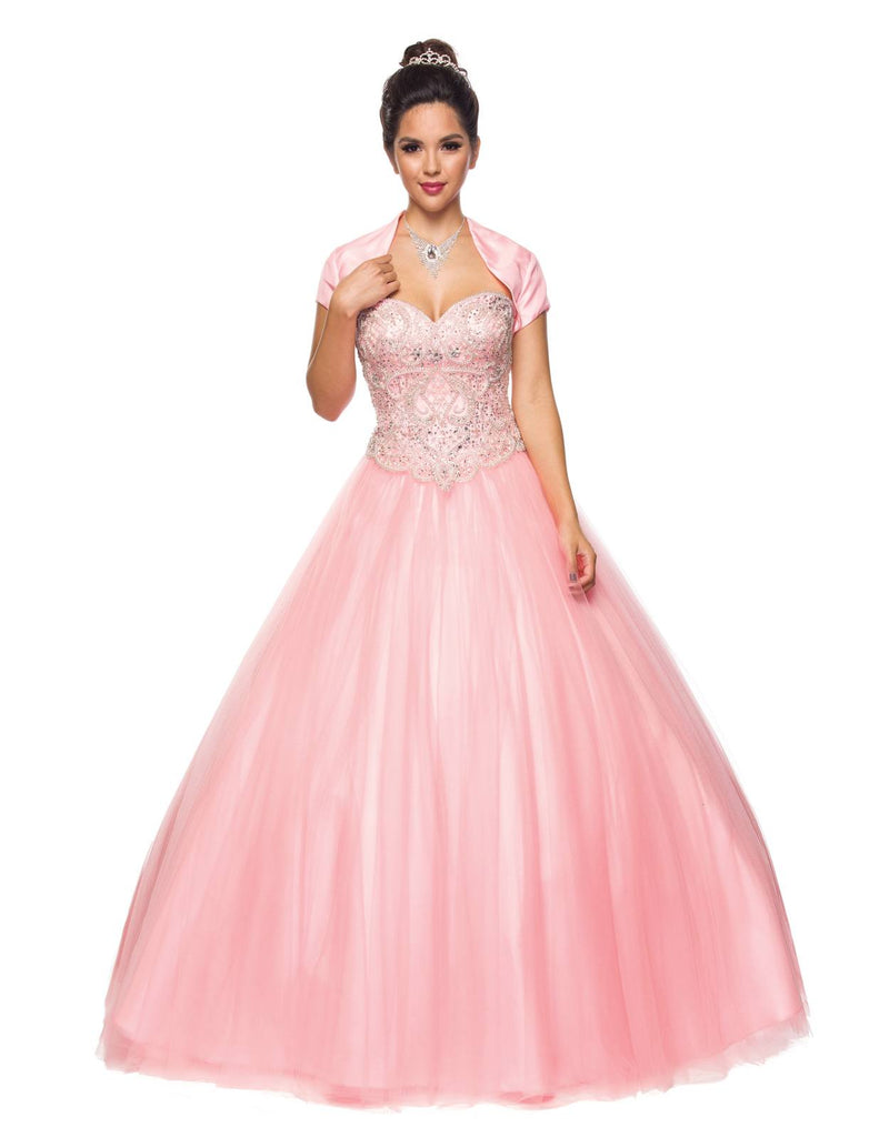 Juliet 337 Blush Beaded Bodice Strapless Ball Gown Wedding Dress with Bolero