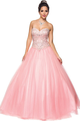 Two-Piece Prom Gown Appliqued Crop Top Tiered Skirt Blush