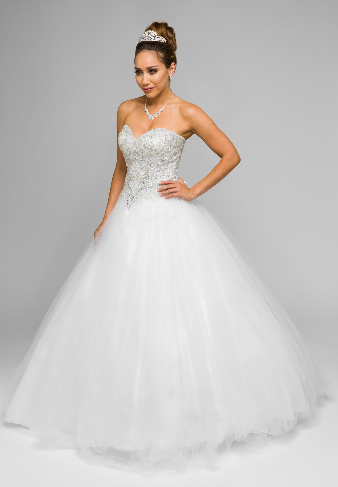 White Beaded Bodice Strapless Ball Gown Wedding Dress with Bolero ...