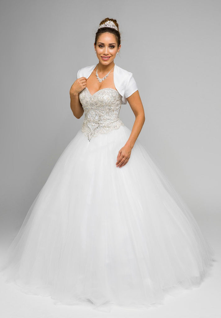 Juliet 337 White Beaded Bodice Strapless Ball Gown Wedding Dress with Bolero