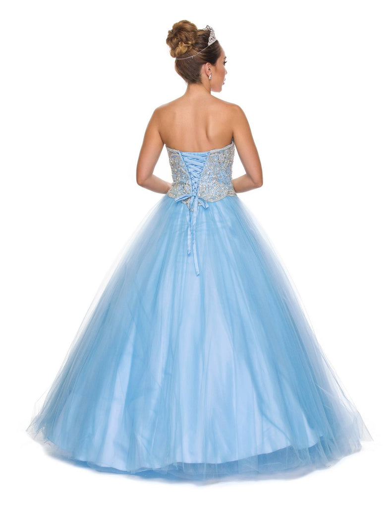 Juliet 337 Light Blue Beaded Bodice Strapless Ball Gown Wedding Dress with Bolero