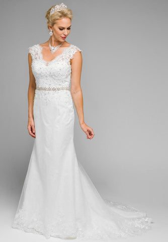 Lace Floor Length Wedding Dress Embellished Waist V-Neck White