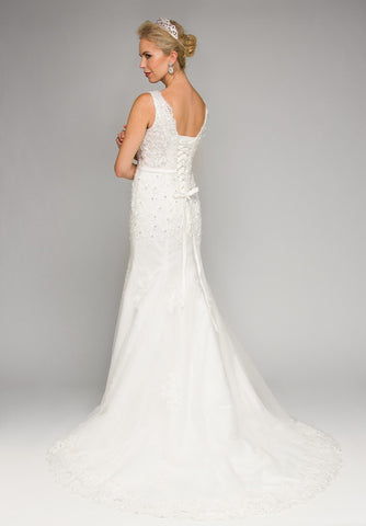 Ivory V-Neck Mermaid Wedding Gown Court Train with Satin Belt