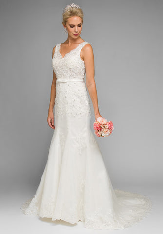 233768a49935d Juliet 340W V-Neck Mermaid Style Embroidered Wedding Gown Ivory