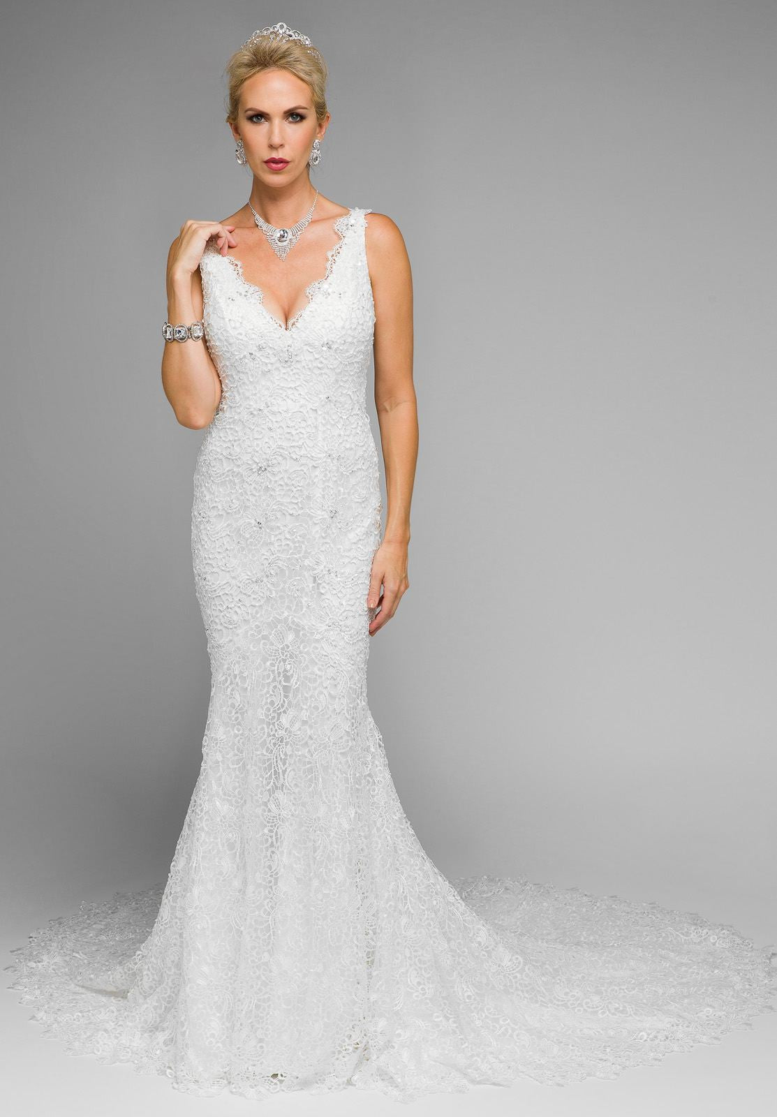 Mermaid Style Wedding Dress.Juliet 341 Plunging Neck Fitted Mermaid Style Lace Wedding Dress