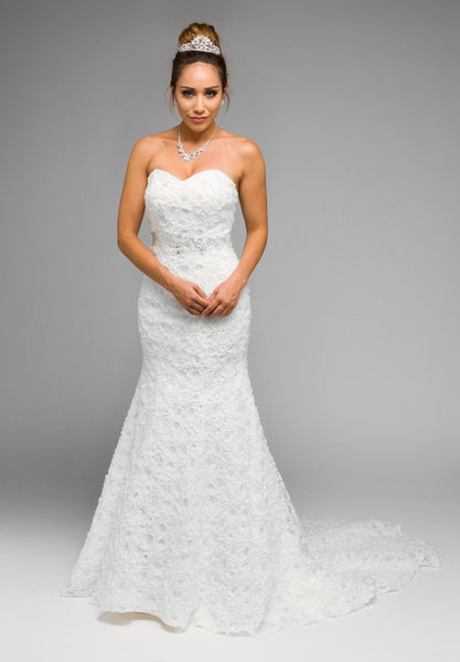 Juliet 342W Strapless Applique Mermaid Style Wedding Gown White