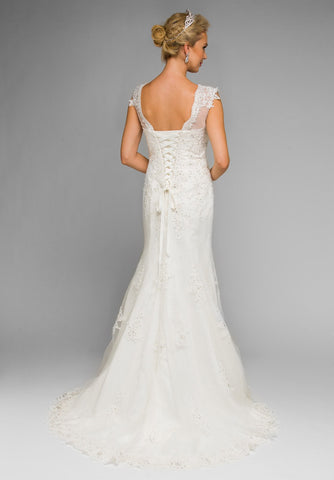 White Illusion Sweetheart Neckline Beaded Wedding Gown Sleeveless