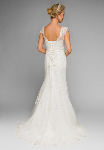 Juliet 343W Illusion Sweetheart Neckline Trumpet Style Wedding Gown White