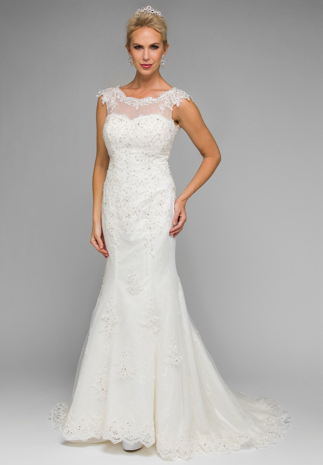 3b07f2c303c9 White Illusion Sweetheart Neckline Beaded Wedding Gown Sleeveless. Tap to  expand