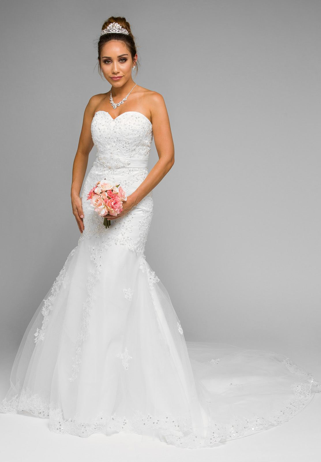 mermaid strapless wedding gown embroidered with chapel