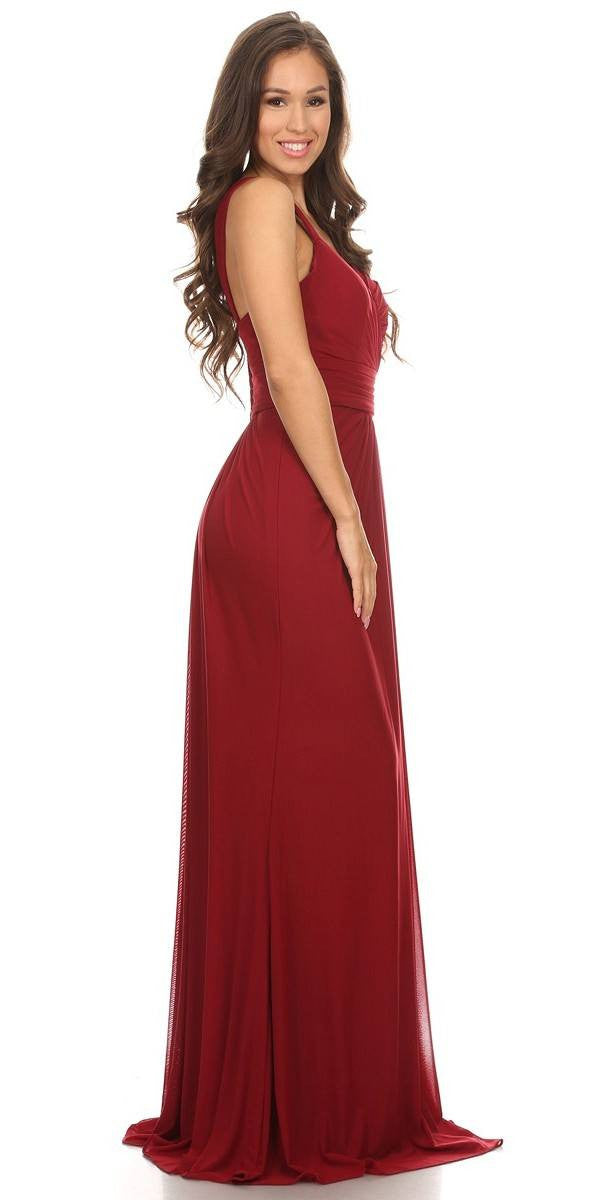 Ruched Sweetheart Neckline Floor Length Bridesmaids Dress Burgundy