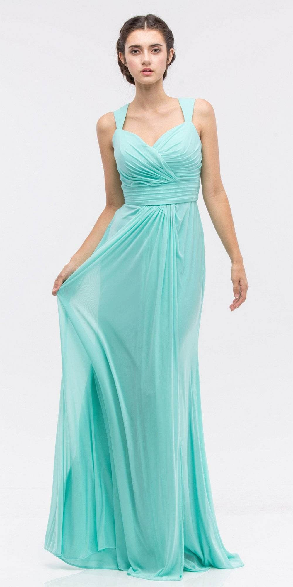 Ruched Sweetheart Neckline Floor Length Bridesmaids Dress Mint