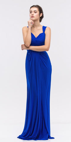 Ruched Sweetheart Neckline Floor Length Bridesmaids Dress Royal Blue