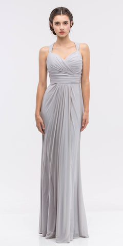 Ruched Sweetheart Neckline Floor Length Bridesmaids Dress Silver