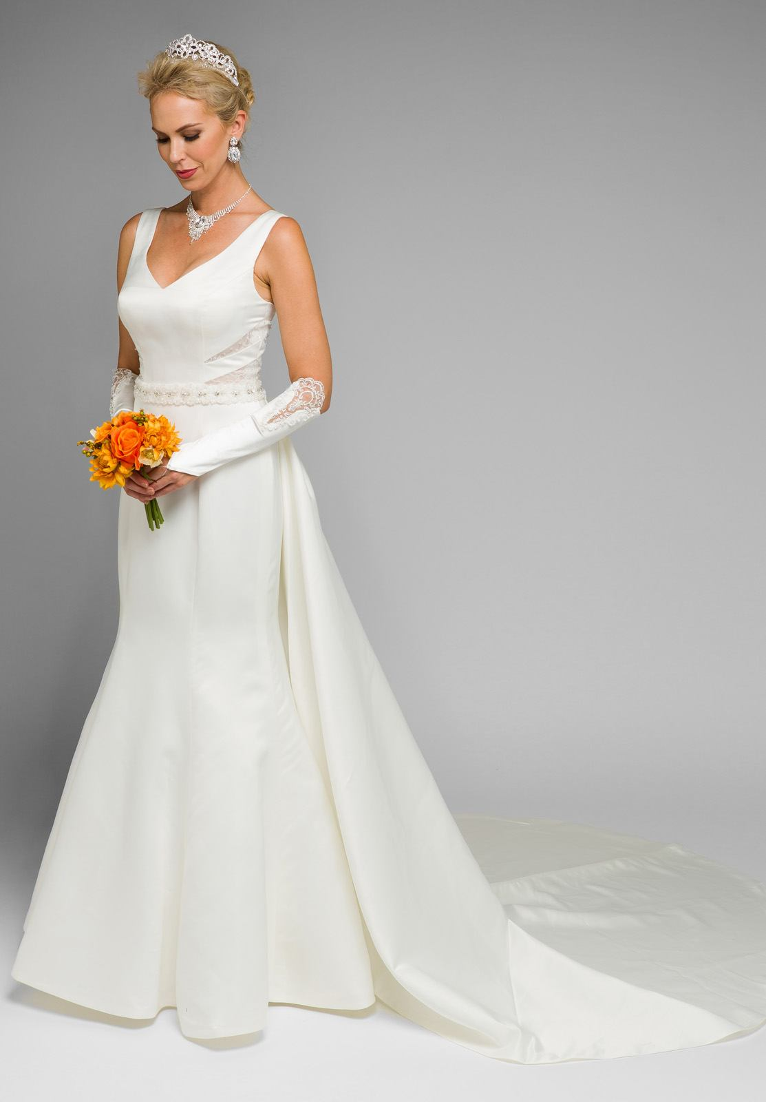 V-Neck Cut Out Mermaid Wedding Gown with Panel Train Ivory ...