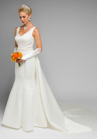 V-Neck Cut Out Mermaid Wedding Gown with Panel Train Ivory