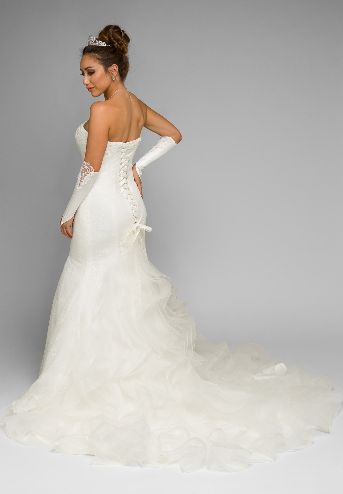 White Strapless Mermaid Wedding Gown with Ruffled Chapel Train ...