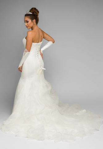 Ivory Strapless Mermaid Wedding Gown with Ruffled Chapel Train