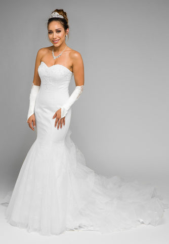 White Strapless Mermaid Wedding Gown with Ruffled Chapel Train