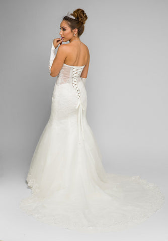 Juliet 348W  Ivory Mermaid Style Wedding Gown With Sheer Side Cut Out