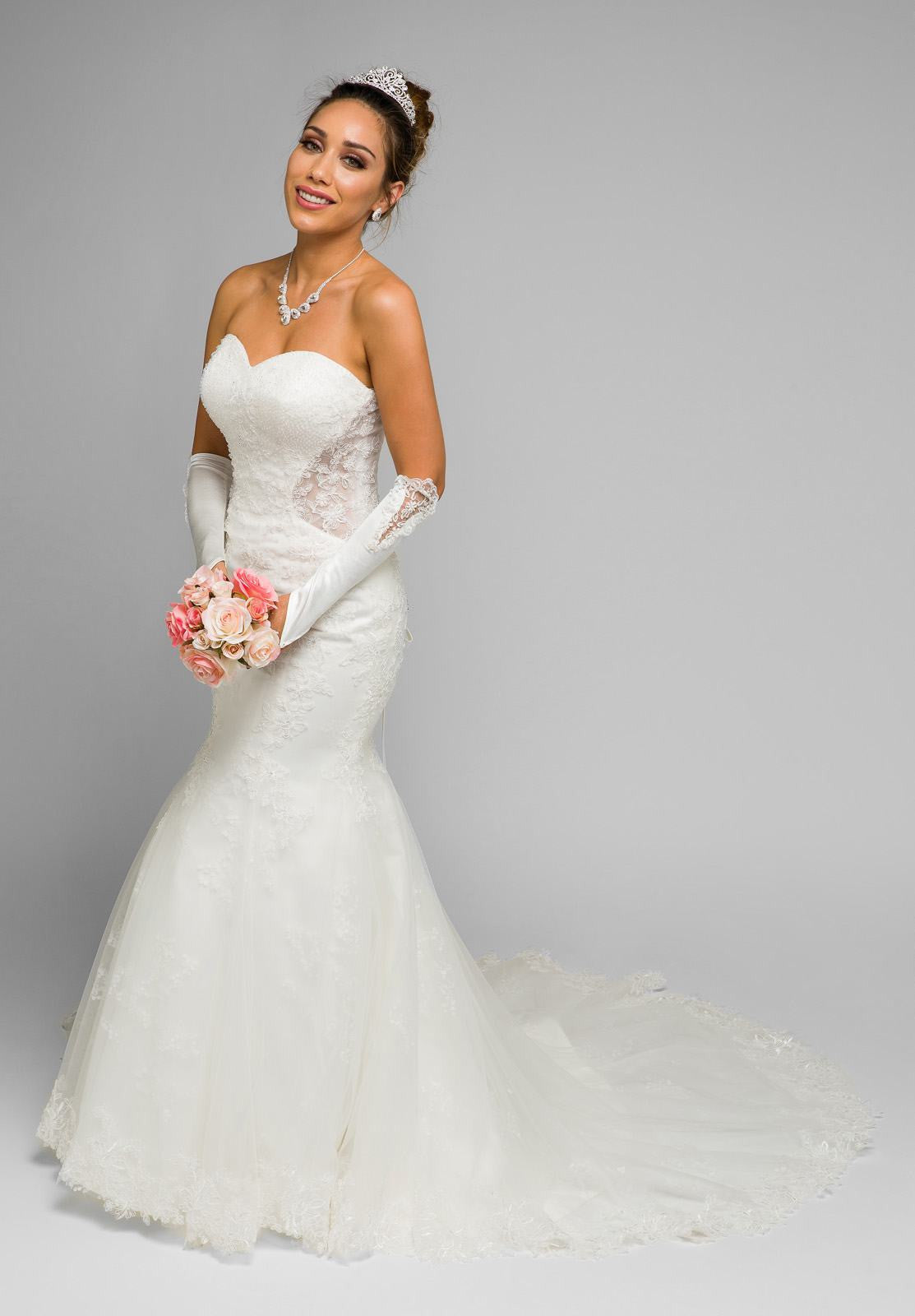Juliet 348 White Mermaid Style Wedding Gown With Sheer Side Cut ...