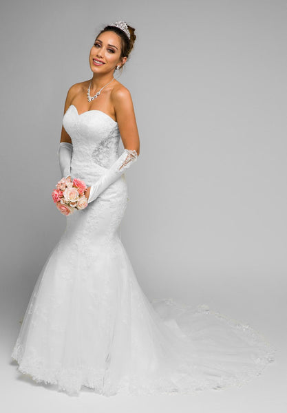 Juliet 348W White Mermaid Style Wedding Gown With Sheer Side Cut Out