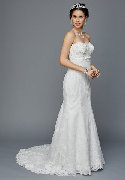 Juliet 349W Embellished Bodice Strapless Wedding Gown Ivory