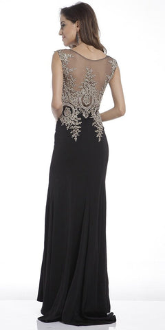 Cinderella Divine 35 Illusion Bateau Neck Embroidered Bodice Black Floor Length Prom Dress
